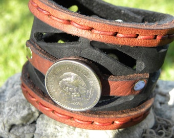 Genuine Buffalo Leather 2 Inch wide Bracelet  wristband pick one coin only Netherlands, Buffalo Indian Nickel, Aztec Calendar or Aztec Eagle