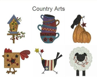 Country Arts Primitive Styles Machine Embroidery Designs Instant Download 4x4 hoop 12 designs APE1996