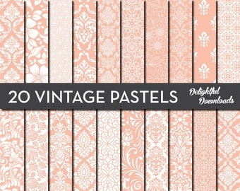 "Peach Floral Digital Paper ""20 VINTAGE PASTEL PEACHES"" with 20 peach floral damask digital papers for scrapbooking, cards, prints."