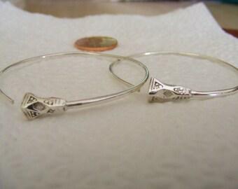 West African Sterling Silver Tuareg Tsibit Traditional Hoop Earrings XL