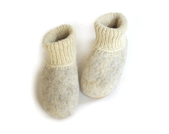 Eco friendly felted slippers with soles