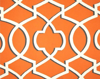 Orange & Grey Modern Geometric Home Decor Fabric by the Yard, Designer Drapery or Upholstery Fabric, Orange Cotton Home Decor Fabric R120