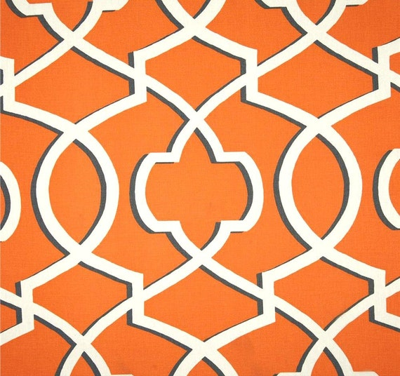 Orange grey modern geometric home decor fabric by for Modern home decor fabric