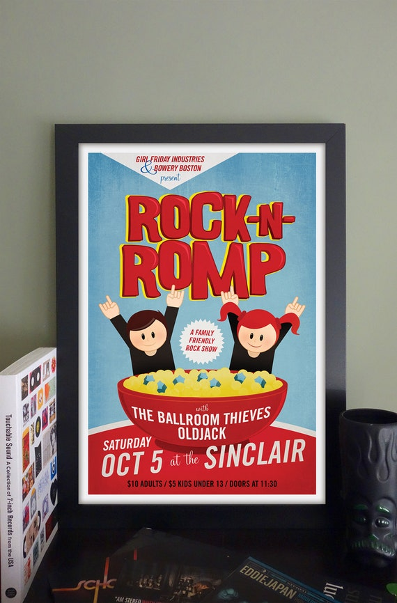 "Rock 'n' Romp Gig Poster with The Ballroom Theives, OldJack // The Sinclair, Cambridge, MA 13""x19"""