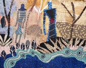 """Quilt art. Fiber art wall hanging    Two Figures in the Woods  8""""x11"""""""