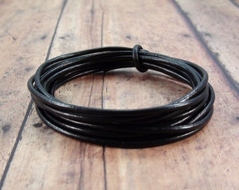 2mm Black Leather Cord 10 Yards