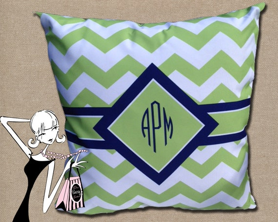 Monogrammed Pillow Chevron Monogram Personalized by onesassysister