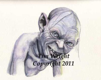 Smeagol Gollum Lord of the Rings Watercolor print