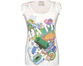 Women tshirt \ Music tshirt \ with sleeves \ Mika \ Relax \ White \ Cotton \ Sizes: S \ M