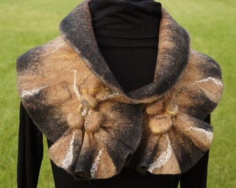Handmade scarf of wool. Felted scarf-collar for woman. With silk. Natural. Gift for her.