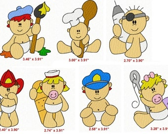 35 Occupational Babies Embroidery Design Files 4x4 with Finger Puppets Set #1