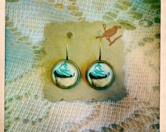 Blue Chocolate Cupcake Earrings