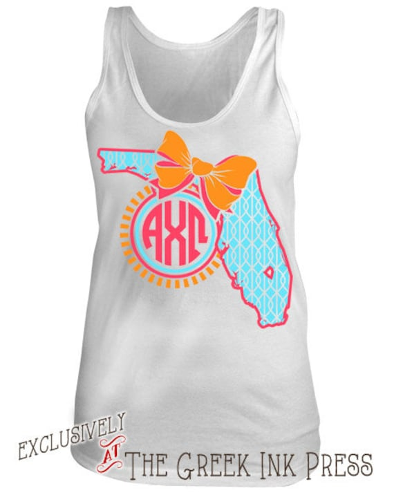 Florida bow monogram custom sorority t shirt design aa2408 for Sorority t shirt design