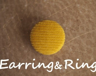 Reduce, reuse, recycle yellow corduroy fabric covered button earrings, fabric covered button clip on earrings, fabric covered button ring