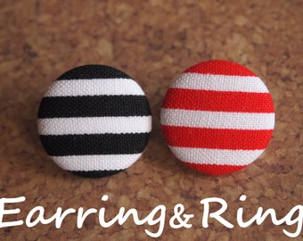 Red or black striped fabric covered button earrings, fabric covered button clip on earrings, fabric covered button ring