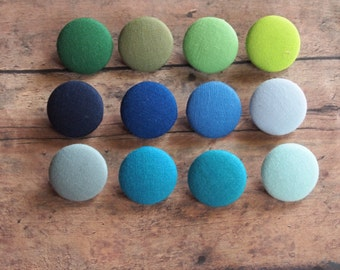 Solid colorful fabric covered buttons in Green, Blue, and Blue-greens(size 60, 40, 32, 20, or 18) lime green buttons, navy blue buttons