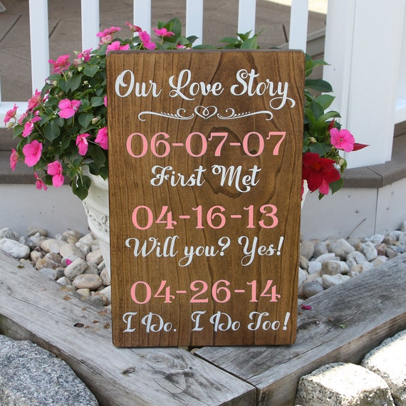 Our Love Story Wedding Idea: Our Love Story Wedding Sign With Dates / Stained Wood Sign For
