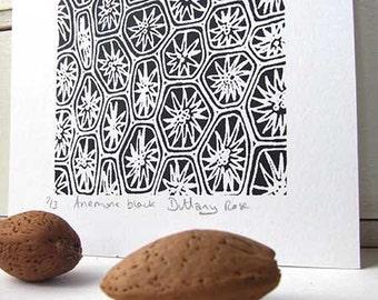 Black Anemone screen print, small, abstract, modern art