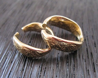 Gold Bronze Organic Rustic Textured Artisan Oval Shaped Designer Jump Ring and Bail (set of 2) (N)
