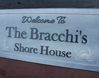 Beach House Sign Family Name Sign Carved Sign Rustic Weathered Wood Sign Personalized Sign Carved Wooden Sign Fishing Sign Wildlife Sign