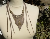 Hand Crafted Woodland Warrior Leather Necklace, Mix Media, Recycled Leather  Necklace