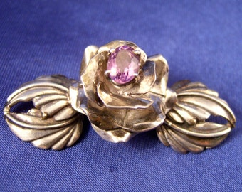 SALE ~ Carol Felley ~ Gorgeous Flower Brooch ~ Sterling & Amethyst