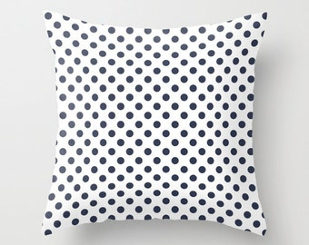 Nautical Polka Dot Pillow Cover, navy blue pillow, ocean living home decor, beach dots pillow, organic pillow, cotton pillow