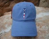 Men's Golf Hat Slate Blue with Embroidered USA Flag Tee Design | Great Golf Gift Item