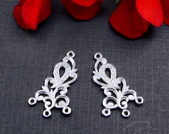 2pcs 925 Sterling Silver Two-Sided Earring Elements/Pendants with 3 Loops, Top Quality, Made in Israel, 25x15mm, White and Shiny Silver,0120