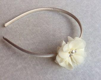 Ivory headband plastic cream headband satin headband flower girl headband gold large headband wedding  headband chiffon headband photo prop