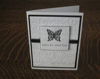 Sympathy card, Butterfly sympathy card, sorry for your loss