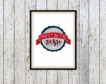 Party in the USA Digital Typography Print