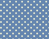 Aunt Grace's Dots- Marcus Fabrics- Blue with White Dots- R35-5363-0350- 1 Yard Fabric