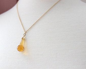 Vintage Art Deco Faceted Amber Glass Teardrop Pendant Necklace