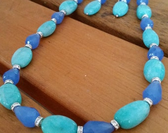 Aquamarine and Glass Bead Necklace Set