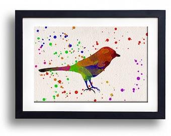 Animal print Robin watercolor illustrations art children's room wall art home decor nursery art