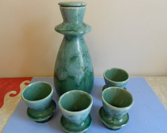 Vintage California Pottery Green Drip Glaze Decanter with 4 Cups