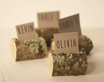 12 pieces rustic place card holders, Wedding place card holders, wooden name card holders, party name card holders