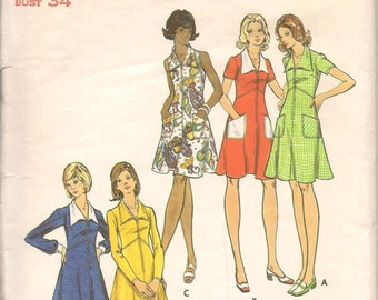 1970's Butterick Pattern #3068 Dress Pattern Size 12
