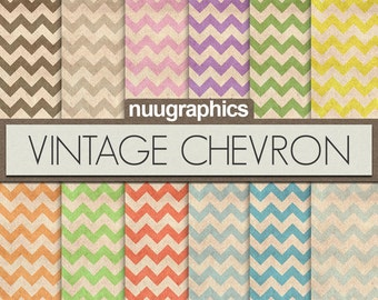 "Chevron digital paper: ""VINTAGE CHEVRON"" with chevron patterns in black, grey, pink, purple, green, yellow, orange, red, blue"
