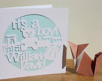 Personalised Baby card - Handmade Papercut design