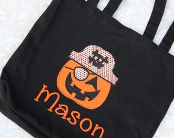 Personalized Pirate Pumpkin Trick or Treat Bag - Halloween Tote - Candy bucket