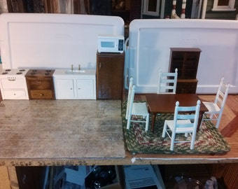 Good Quality dollhouse furniture kitchen / dining set lot w/ microwave 2 stoves sink 4 chairs table braided rug fridge & hutch 1/12 scale