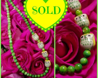 I Don't Give 4 Hoots Necklace:   Yellow, Green & Black Ceramic Owls w/ Custom Bead Choice.
