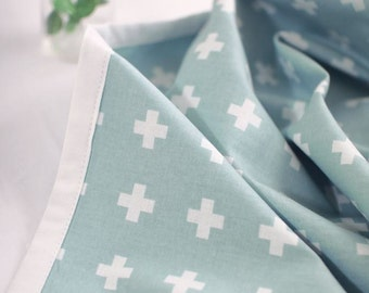 Scandinavian Nordic Style Modern Cross Pattern Cotton Fabric(Mint) by Yard AQ37