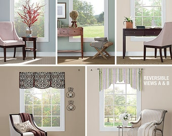 "Valances for 36"" To 40"" Wide Windows Simplicity Pattern 1383"