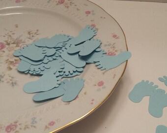 50 Baby Blue Feet Die Cuts/ Scrapbooking Die Cuts / Blue Baby Feet Die Cuts / Baby Shower Die Cuts / Confetti / Scrapbooking