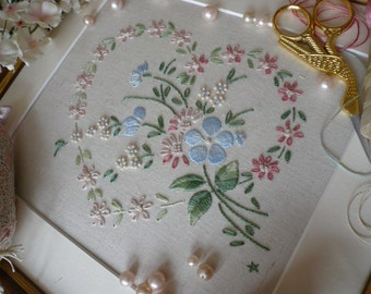 Transfered Embroidery Kit: 'Sophie' (Pink) Lovely Sampler! Beautiful Kits By Maggie Gee Needlework