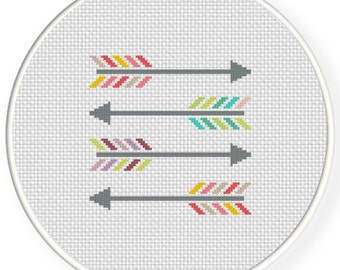 Colorful Arrows PDF Cross Stitch Pattern - Instant Download - Modern Chart