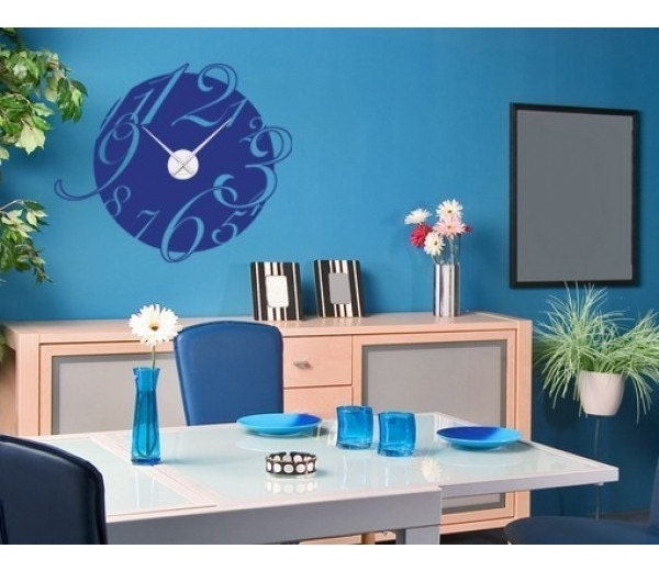 Big clock wall decal clock sticker mural by for Clock wall mural